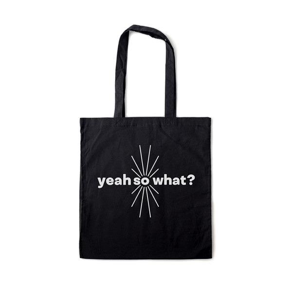 Torba na zakupy z uchwytami na ramię: yeah so what; czarna