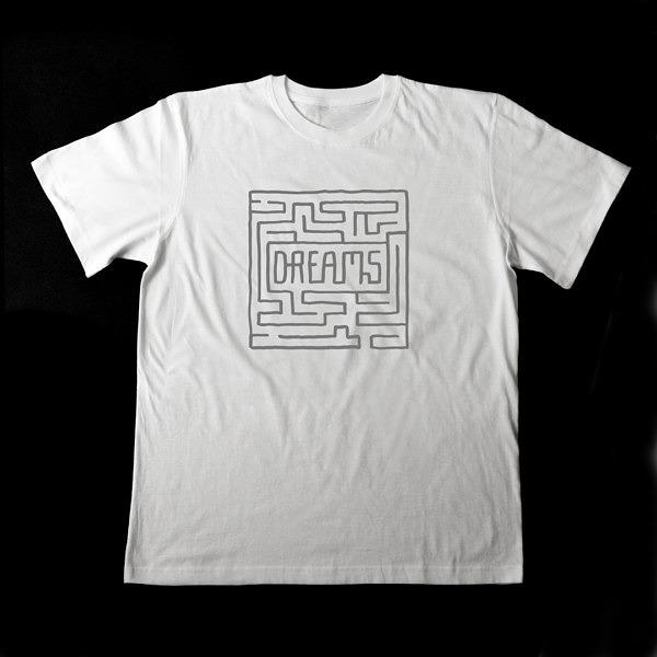 Biała koszulka męska z szarym nadrukiem w formie labiryntu
