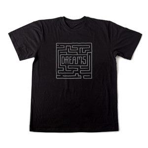 Czarna koszulka męska z szarym nadrukiem w formie labiryntu