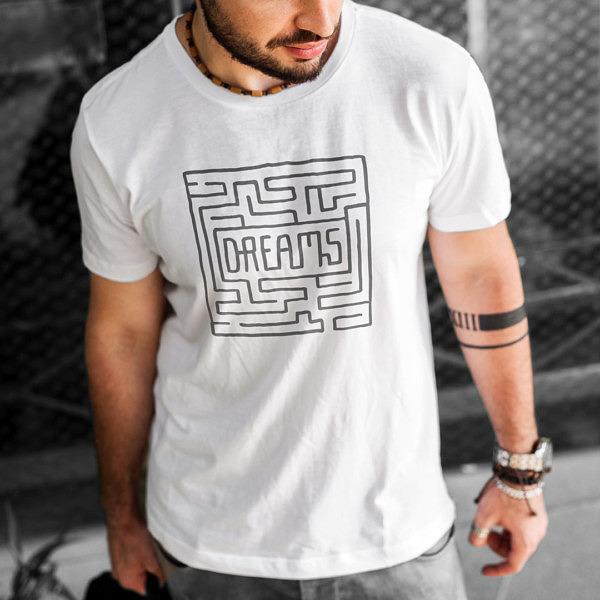 Labirynt do marzeń - biała koszulka męska z nadrukiem