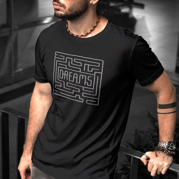 Labirynt do marzeń - czarna koszulka męska z nadrukiem