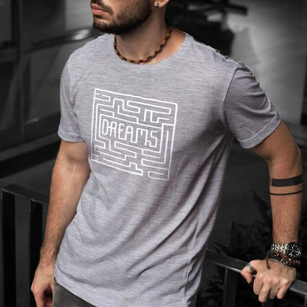 Labirynt do marzeń - szara koszulka męska z nadrukiem