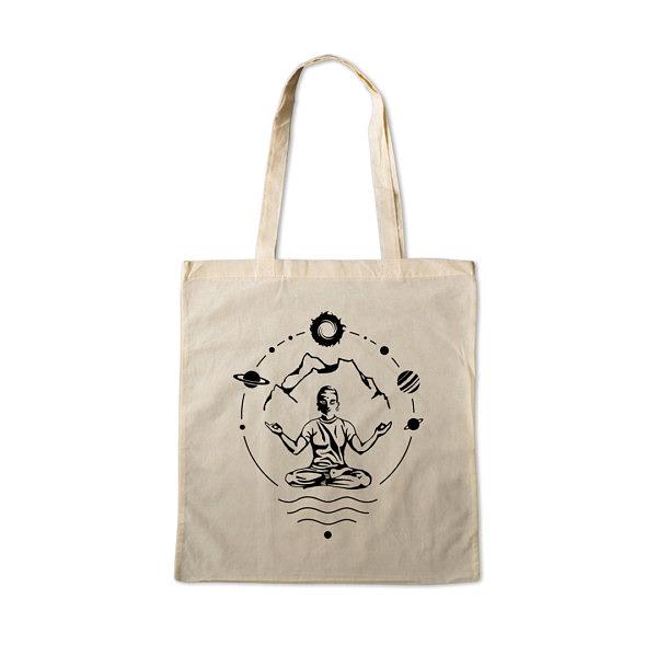 naturalna torba na zakupy na ramię z nadrukiem w temacie: mantra, yoga, góry kosmos