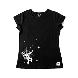 czarna koszulka damska z nadrukiem astronauty