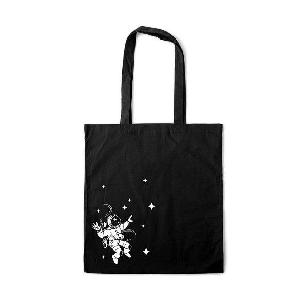 czarna torba na zakupy z 100% bawełny. Biały nadruk z astronautą