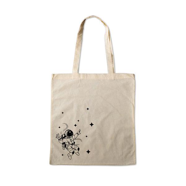 Naturalna torba na zakupy z 100% bawełny, na ramię. Czarny nadruk z astronautą
