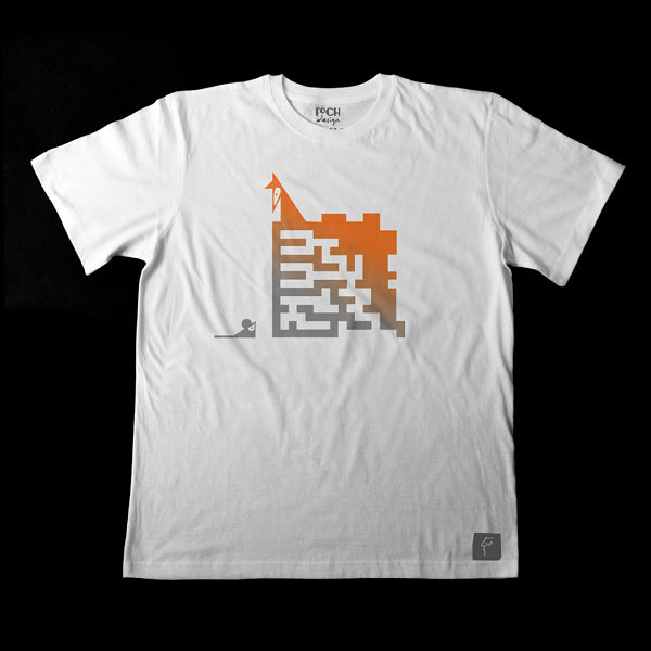 Męska koszulka dla spryciarza. Nadruk z lisem i labiryntem w jednym. Pomarańczowo-szary