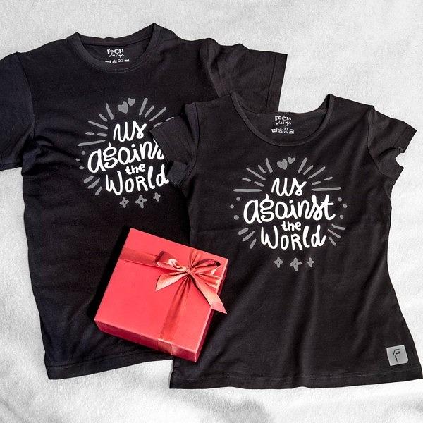 Zestaw koszulek na Walentynki. Wzór na rocznicę.