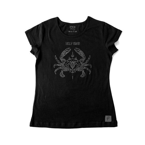 Czarna koszulka z krabem przypominającym rysunek mandali. Szary nadruk na damskim kroju.