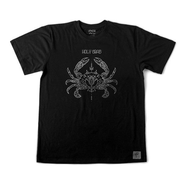 czarna koszulka z symetrycznym wzorem, do ćwiczeń jogi i medytacji