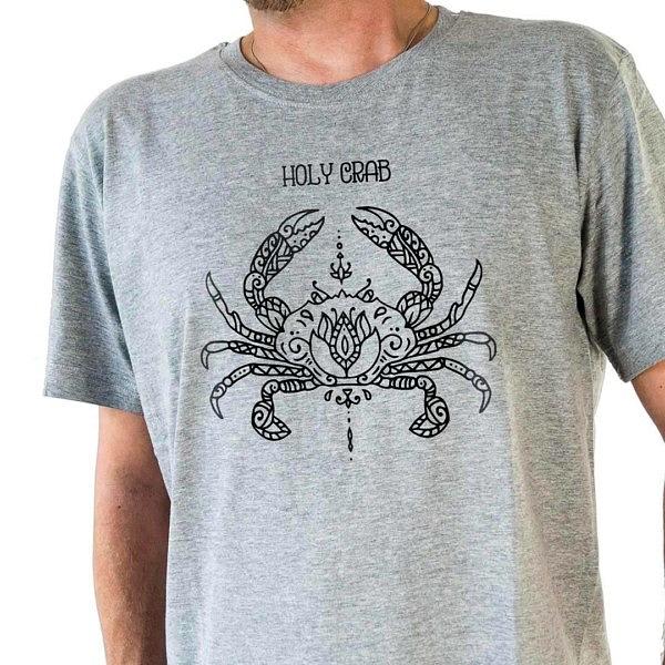 Symetryczny wzór kraba w stylu mandali na szarej koszulce