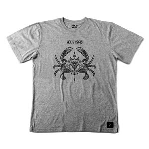 szara koszulka ze wzorem w stylu madnali. Prosty wzór symetyrycznego kraba, lineart czarną kreską