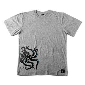 T-shirt-z-osmiornica-kraken-nadruk-szary-meski