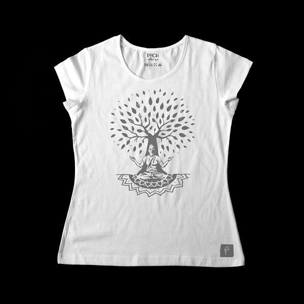Jasna koszulka damska z Buddą siedzącym pod drzewem