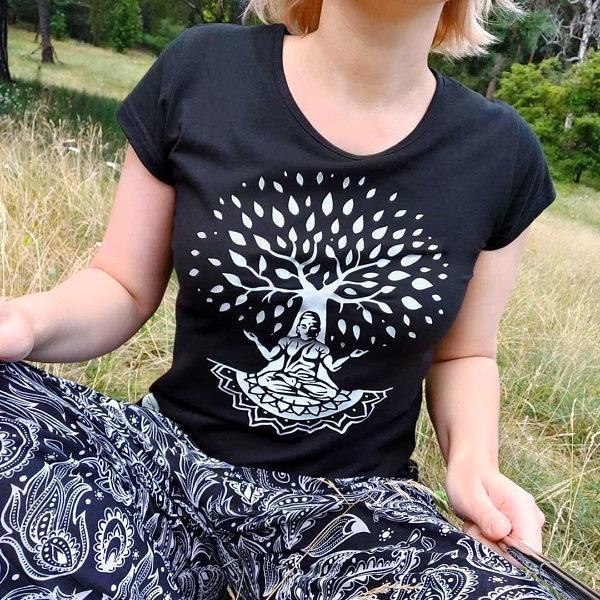 koszulka z buddą pod drzewem - real photo
