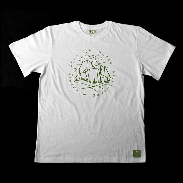 """T-shirt męski z górami, dookoła gór nznajduje się napis: Góry to nasze spiętrzone marzenia"""""""