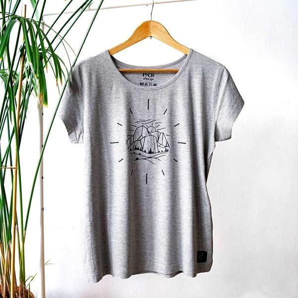 Szara koszulka z górami bez tekstu
