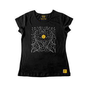T-shirt, zarośla, koszulka damska, czarna, jednokolorowa, motyw roślinny, dla introwertyka, żółty smiley ikona pośrodku